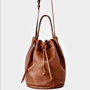All Saints Club Brown Leather Bucket Bag